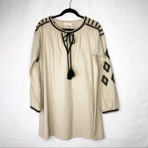 ILLA ILLA Tan Dress with Black/Gold Embroidery NWT